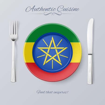 ethiopian: Authentic Cuisine of Ethiopia. Plate with Ethiopian Flag and Cutlery Illustration