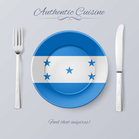 Authentic Cuisine of Honduras. Plate with Honduran Flag and Cutlery