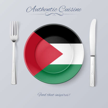 palestinian: Authentic Cuisine of Palestine. Plate with Palestinian Flag and Cutlery Illustration