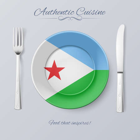 authentic: Authentic Cuisine of Djibouti. Plate with Djiboutian Flag and Cutlery