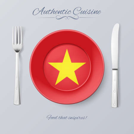 vietnamese food: Authentic Cuisine of Vietnam. Plate with Vietnam Flag and Cutlery Illustration