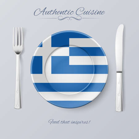 authentic: Authentic Cuisine of Greece. Plate with Greek Flag and Cutlery