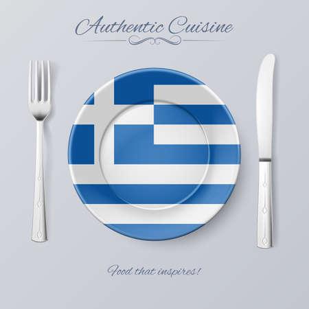 Authentische Küche Griechenlands. Platte mit griechischer Flagge und Besteck