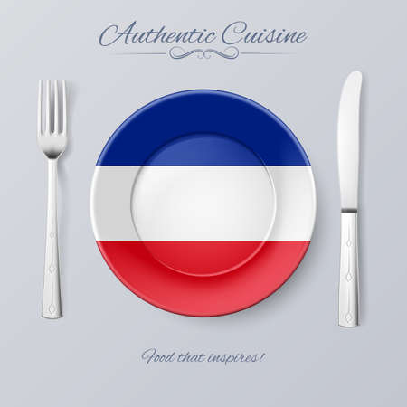 former yugoslavia: Authentic Cuisine of Yugoslavia. Plate with Yugoslavian Flag and Cutlery