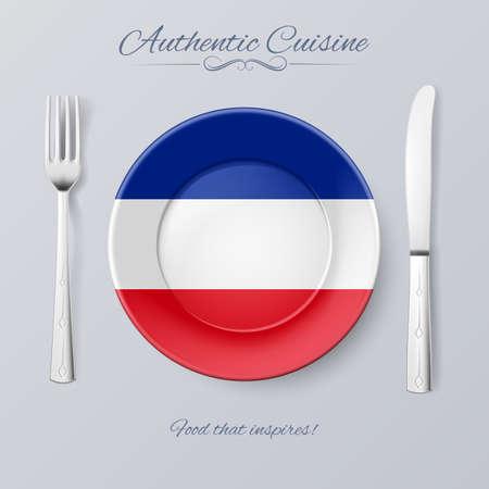 yugoslavia: Authentic Cuisine of Yugoslavia. Plate with Yugoslavian Flag and Cutlery