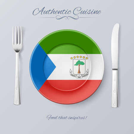 equatorial: Authentic Cuisine of Equatorial Guinea. Plate with Flag and Cutlery