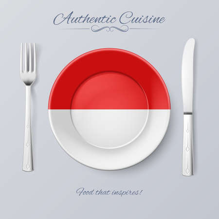 indonesian: Authentic Cuisine of Indonesia. Plate with Indonesian Flag and Cutlery