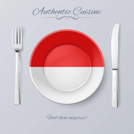Authentieke keuken van Indonesië. Plaat met Indonesische vlag en Bestek