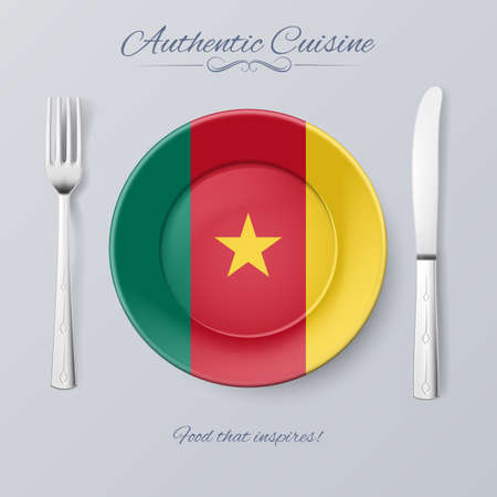 cameroonian: Authentic Cuisine of Cameroon. Plate with Cameroonian Flag and Cutlery