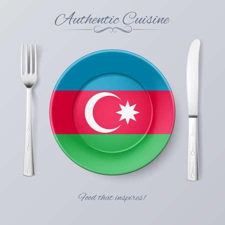 azerbaijanian: Authentic Cuisine of Azerbaijan. Plate with Azerbaijanian Flag and Cutlery