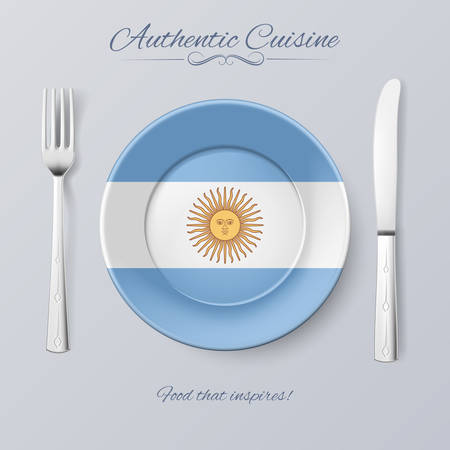 authentic: Authentic Cuisine of Argentina. Plate with Argentinian Flag and Cutlery Illustration