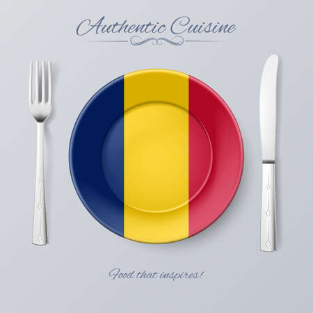 chadian: Authentic Cuisine of Chad. Plate with Chadian Flag and Cutlery Illustration