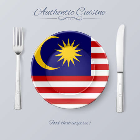 nations: Authentic Cuisine of Malaysia. Plate with Malaysian Flag and Cutlery