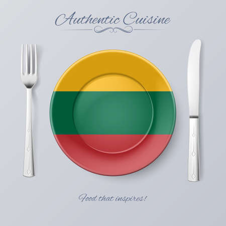 country kitchen: Authentic Cuisine of Lithuania. Plate with Lithuanian Flag and Cutlery Illustration