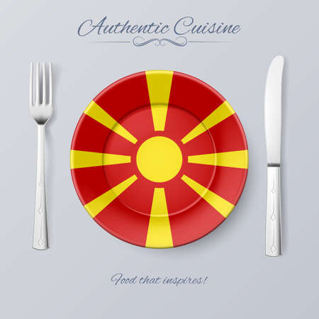 macedonian flag: Authentic Cuisine of Macedonia. Plate with Macedonian Flag and Cutlery Illustration