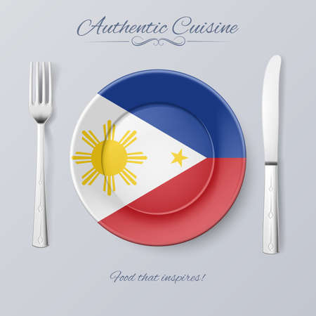 filipino: Authentic Cuisine of Philippines. Plate with Filipino Flag and Cutlery