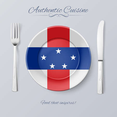 authentic: Authentic Cuisine of Netherlands Antilles. Plate with Flag and Cutlery