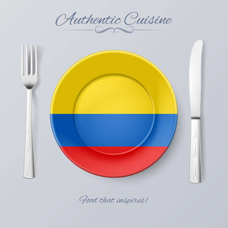 country kitchen: Authentic Cuisine of Colombia. Plate with Colombian Flag and Cutlery Illustration