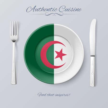 algerian flag: Authentic Cuisine of Algeria. Plate with Algerian Flag and Cutlery
