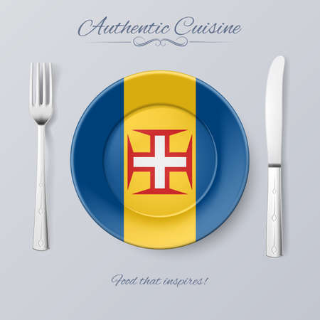 authentic: Authentic Cuisine of Madeira. Plate with Flag and Cutlery Illustration
