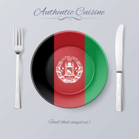 afghan: Authentic Cuisine of Afghanistan. Plate with Afghan Flag and Cutlery