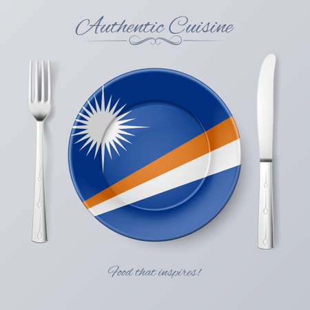 country kitchen: Authentic Cuisine of Marshall Islands. Plate with Flag and Cutlery