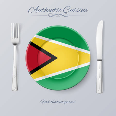 authentic: Authentic Cuisine of Guyana. Plate with Guyanese Flag and Cutlery