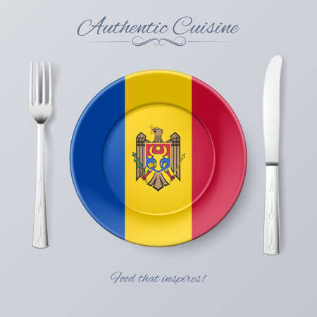 moldovan: Authentic Cuisine of Moldova. Plate with Moldovan Flag and Cutlery