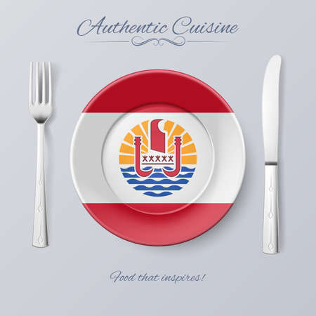 french cuisine: Authentic Cuisine of French Polynesia. Plate with Flag and Cutlery Illustration
