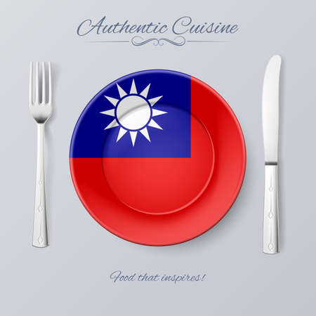 taiwanese: Authentic Cuisine of Taiwan. Plate with Flag and Cutlery Illustration
