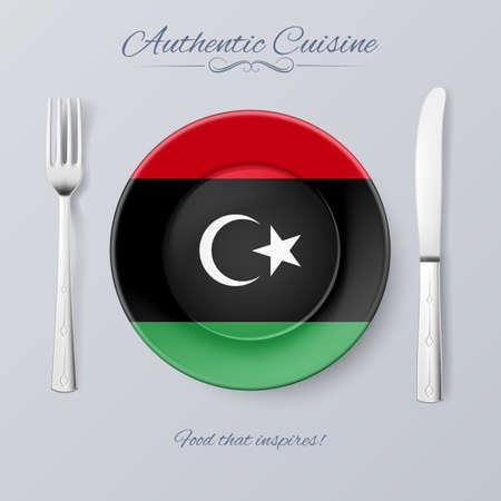 libyan: Authentic Cuisine of Libya. Plate with Libyan Flag and Cutlery