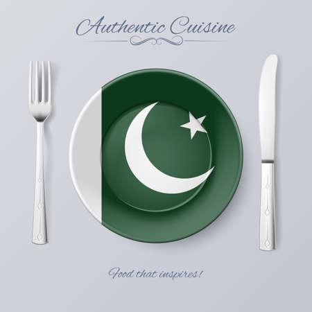 pakistani pakistan: Authentic Cuisine of Pakistan. Plate with Pakistani Flag and Cutlery Illustration