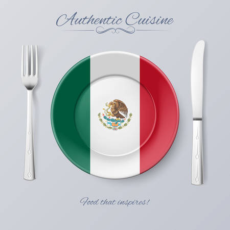 food plate: Authentic Cuisine of Mexico. Plate with Mexican Flag and Cutlery