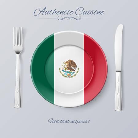 bandera de mexico: Cocina aut�ntica de M�xico. Placa con la bandera mexicana y cubiertos