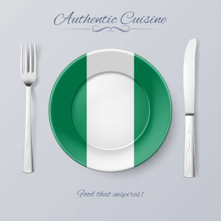 nigeria: Authentic Cuisine of Nigeria. Plate with Nigerian Flag and Cutlery