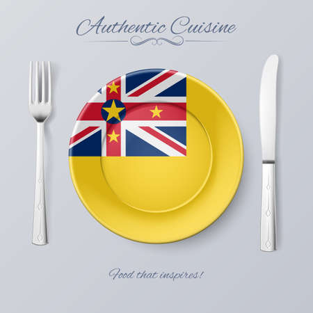 niue: Authentic Cuisine of Niue. Plate with Niuen Flag and Cutlery Illustration