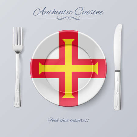 bailiwick: Authentic Cuisine of Guernsey. Plate with Flag and Cutlery Illustration
