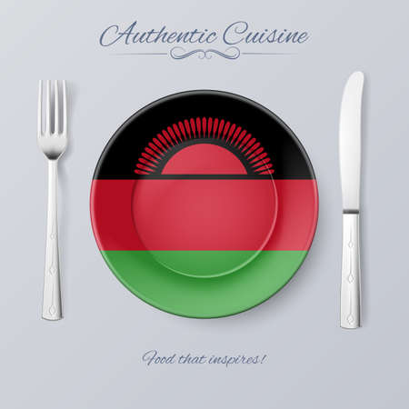 authentic: Authentic Cuisine of Malawi. Plate with Malawian Flag and Cutlery