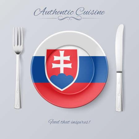 slovakian: Authentic Cuisine of Slovakia. Plate with Slovak Flag and Cutlery