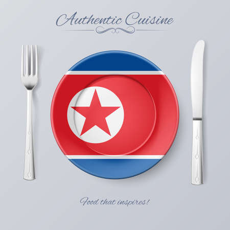 korea food: Authentic Cuisine of North Korea. Plate with North Korean Flag and Cutlery