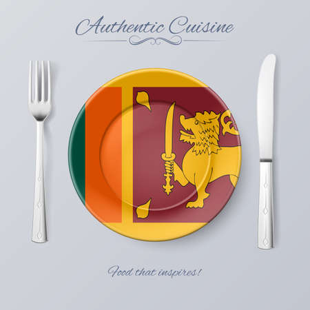 sri lanka: Authentic Cuisine of Sri Lanka. Plate with Flag and Cutlery Illustration