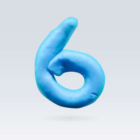 number six: Number Six Blue Color Isolated on Background