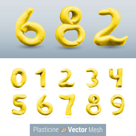 Numeral Yellow Color Isolated on Background Set