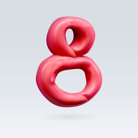Number Eight Red Color Isolated on Background