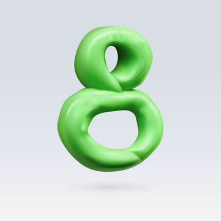 Number Eight Green Color Isolated on Background