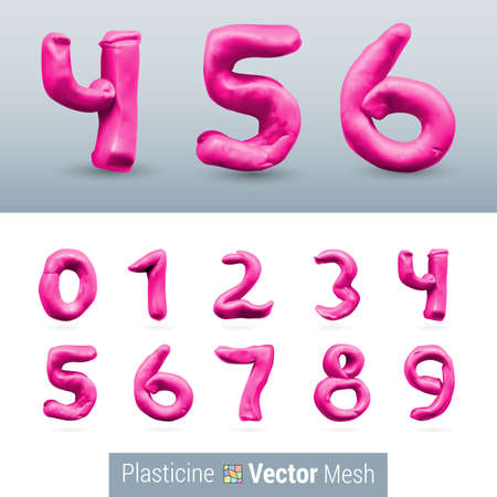 numeral: Numeral Pink Color Isolated on Background Set