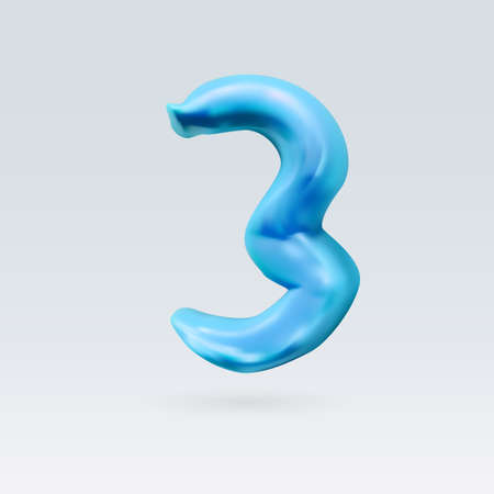 three object: Number Three Blue Color Isolated on Background Illustration