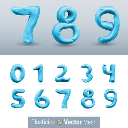 numeral: Numeral Blue Color Isolated on Background Set