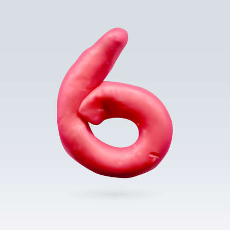 number six: Number Six Red Color Isolated on Background