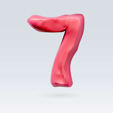 Number Seven Red Color Isolated on Background